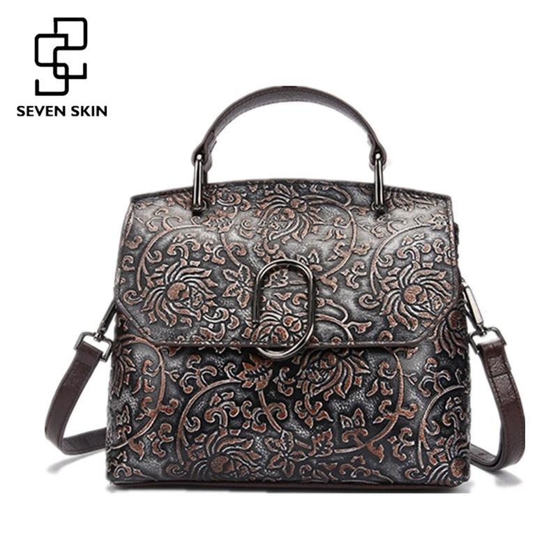 09ad5e41a937 Wholesale SEVEN SKIN Genuine Leather Women Bags Vintage Female Embossed  Flower Handbag Classic Small Tote Bags High Quality Shoulder Bags Handbags  Purses ...