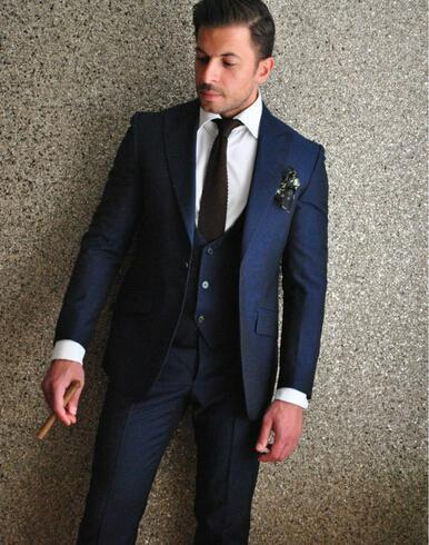 2016 Classic Man Groom Tuxedos Sexy Slim Fit Navy Blue Wedding ...
