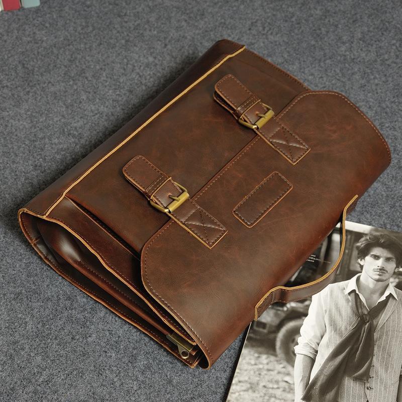 2016 Marka Tasarımcı Mens Çanta Hakiki Vintage Deri Tote Çanta erkekler için Messenger Çanta Laptop Çanta Evrak Erkekler İş Omuz Çantası s