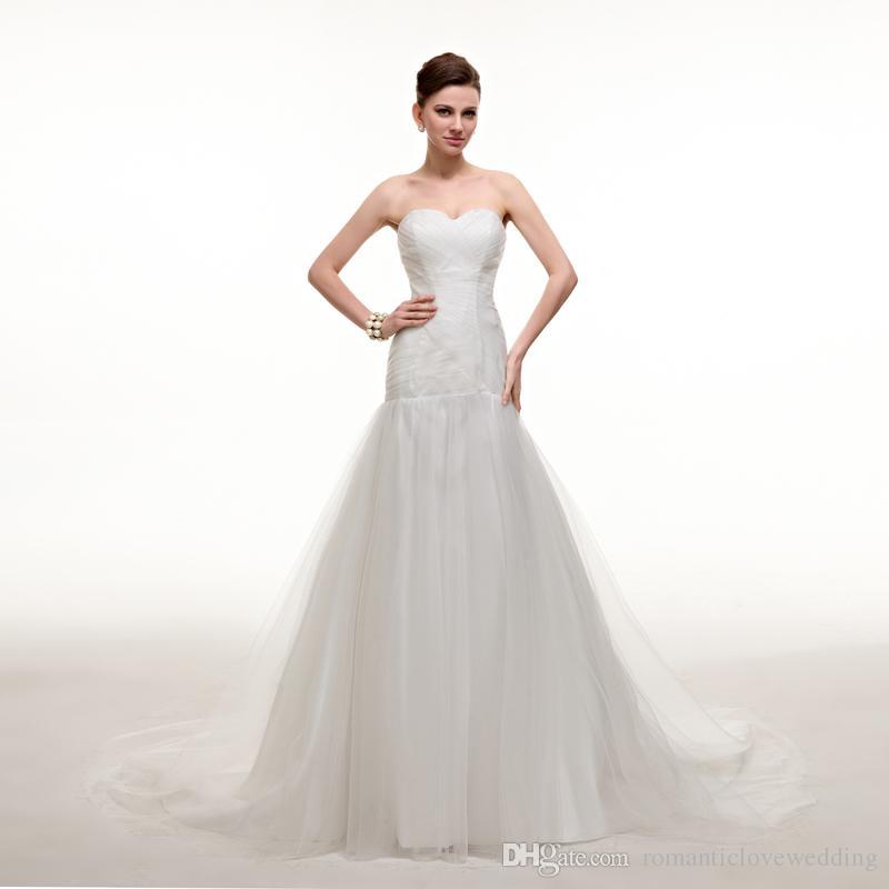 Großhandel Charming Off White Brautkleider Einfache Tüll Perlen ...