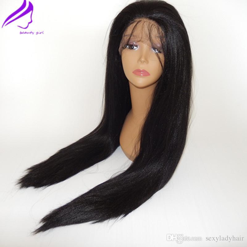 Запас 150% плотность натуральный черный свет яки прямой glueless синтетический парик фронта шнурка для афро-американских