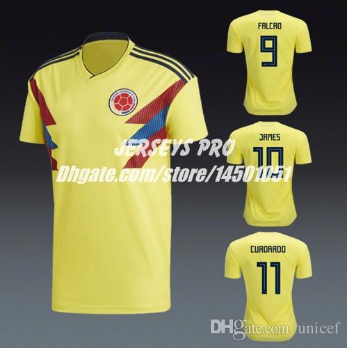 online store 2c6e2 ef26a Colombia Home Shirts Russia World Cup 2018 Soccer Jersey Yellow James  Rodriguez Juan Cuadrado Radamel Falcao Carlos Valderrama Fredy Guarin