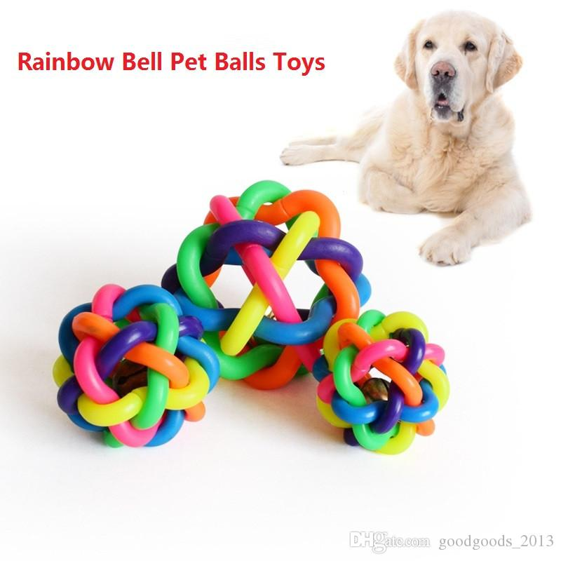 Dog Toys Dog Accessories Bell Pet Ball Rainbow Color Rubber Material Toy Hot Sale z080