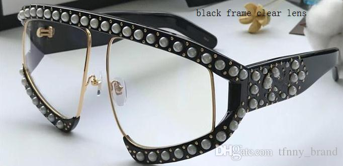 NOVA moda estilo 0234s óculos oversized embutidos rebites de pérola quadro perna qualidade superior óculos de proteção uv óculos de sol 0234 com Caso Original