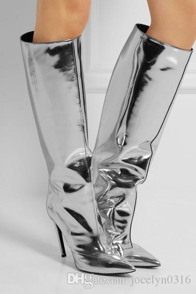 the best attitude dfd53 5b02c Großhandel Herbst Celebrity Style Metallic Spiegel Leder Silber Kniehohe  Frauen Stiefel Plain Spitz Stiletto High Heels Zapatos Mujer Von  Jocelyn0316, ...