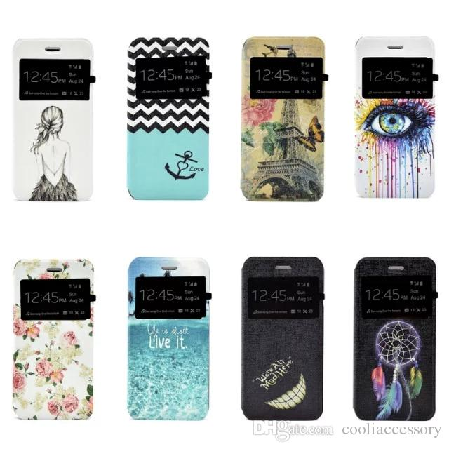 Flower Open Window Wallet Flip Leather Pouch Case For Iphone 7 Plus I7 7PLUS Iphone7 Caller ID Stand Eye Girl Love Dream catcher Skin Cover