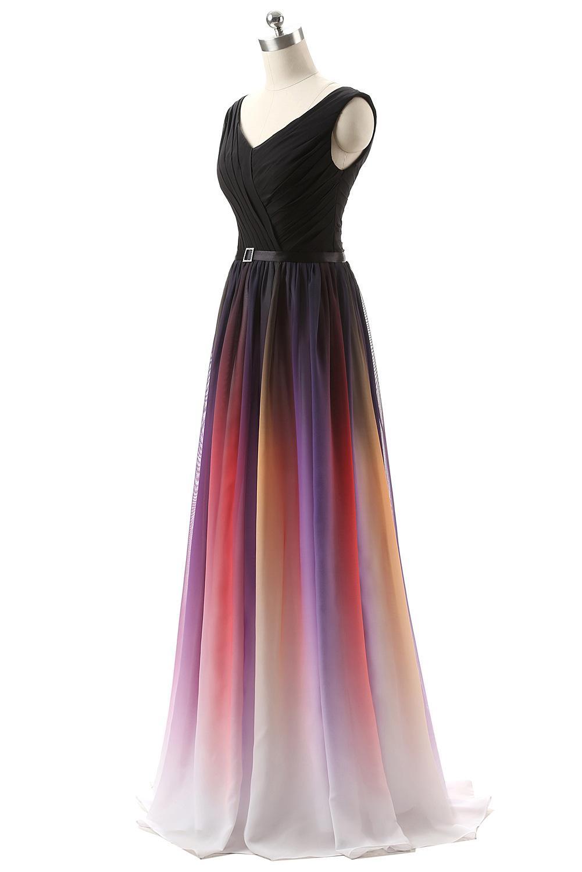 1fc8c40fb19 Großhandel 2016 Auf Lager Lange Party Kleider Sexy Farbverlauf Ombre  Trägerlos Backless Chiffon Günstige Abendkleider Brautjungfer Prom Dresses  Von ...
