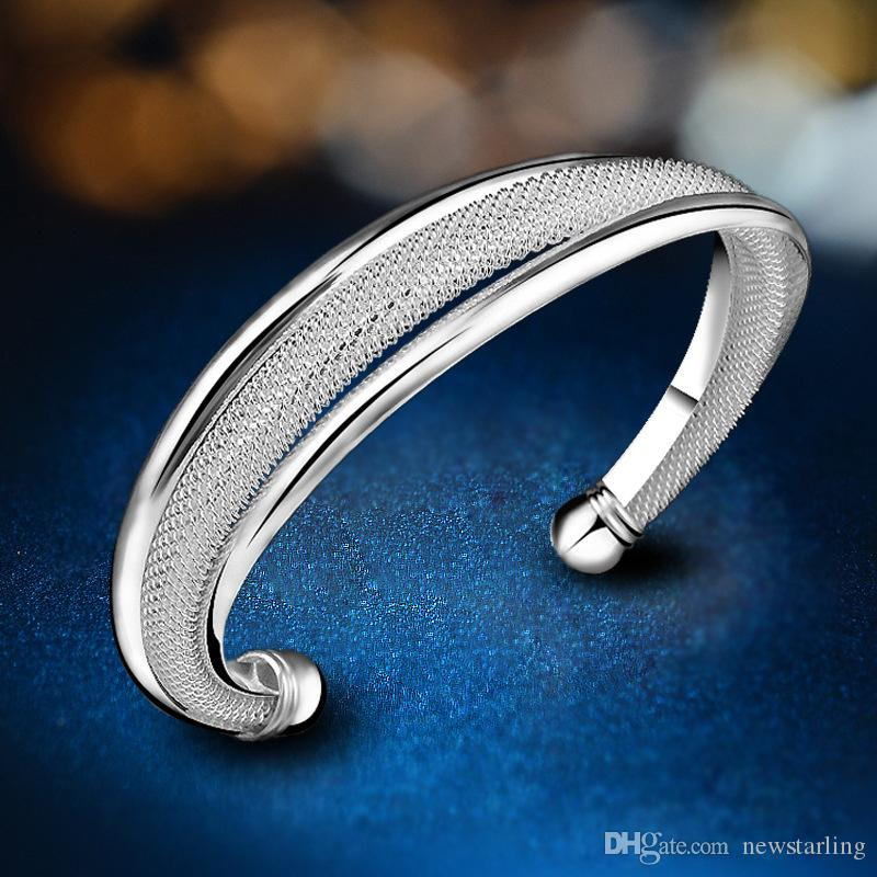 Promotion Fashion 5 Kinds Women's 925 Silver Bangle Bracelets Jewelry 5 Style Sterling Silver Shining Girls Spiral Mesh Bangle Bracelets
