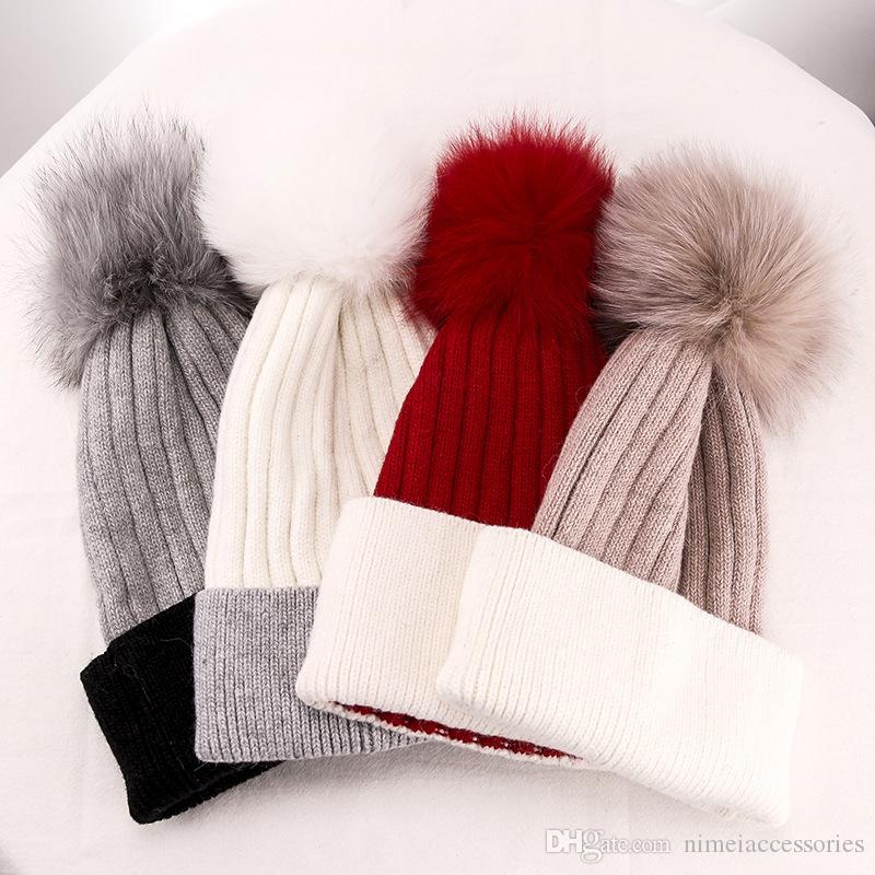 3e62184c29a Women Ladies Fashion Wool Blended Knitted Winter Hat with Turn Cuff And a  Real Genuine Fox Fur Hair Pom in Free Express Shipping LL-001 Wool Hat with  Pom ...