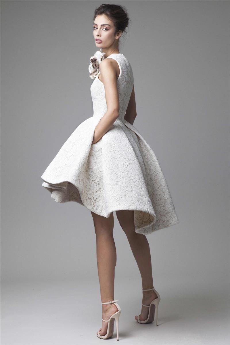 2019 Krikor Jabotian High Low Prom Dresses Jewel Neckline A-Line Flower Appliqued Party Dress Short Lace Evening Gowns