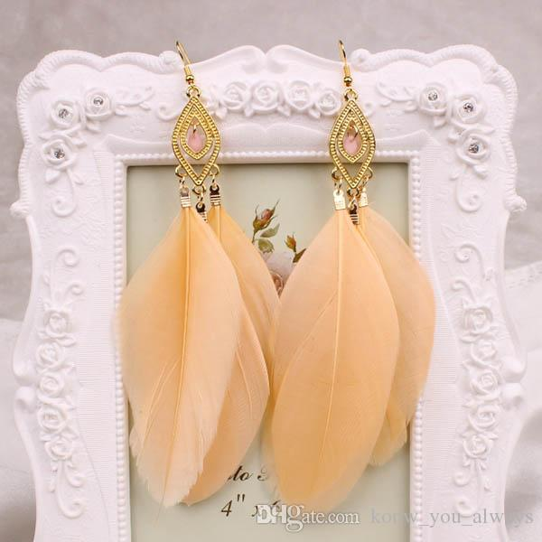 1 Paar Mode Frauen Schmuck Handgemachte Ohrringe Gänsefeder Baumeln Eardrop Haken