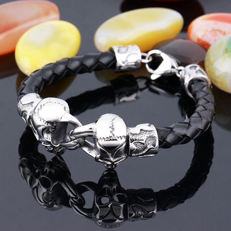 Nouvelle arrivée noir en cuir durable gothique crâne manchette charme bracelet pour hommes cadeau punk rock bracelet en acier inoxydable bijoux