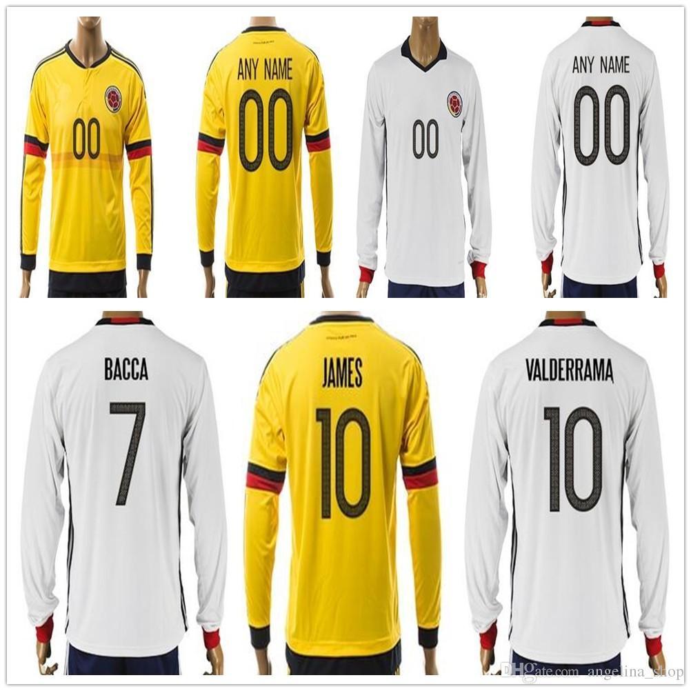 f4878d99b colombia 2014 15 andres escobar 2 home soccer jersey  2017 2017 colombia  long sleeve soccer jersey 10 james valderrama 11 cuadrado 7 bacca 9 falcao