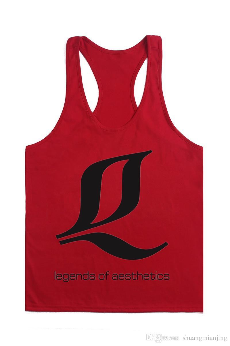 Männer Gym Tank Tops Fitness Männer Print Stringer 100% Baumwolle Weste Singlet Bodybuilding Sports Under Kleidung Gym Weste Muscle Singlet Tees 13