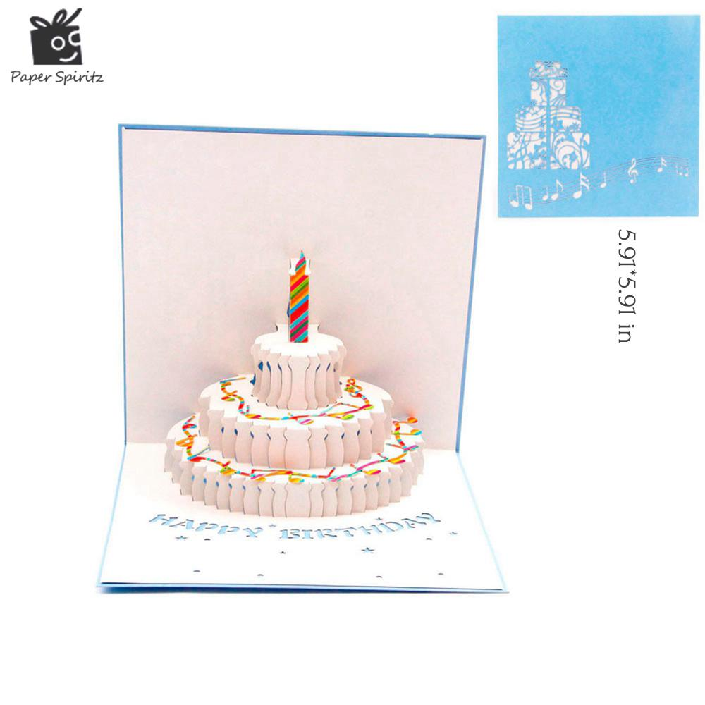 Wholesale 3d Pop Up Birthday Greeting Post Card Blue Piano Cake Of B
