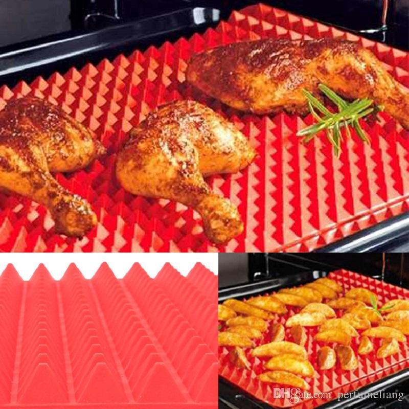 Non Stick Silicone Bbq Pyramid Pan Fat Reducing Slip Oven Baking ...