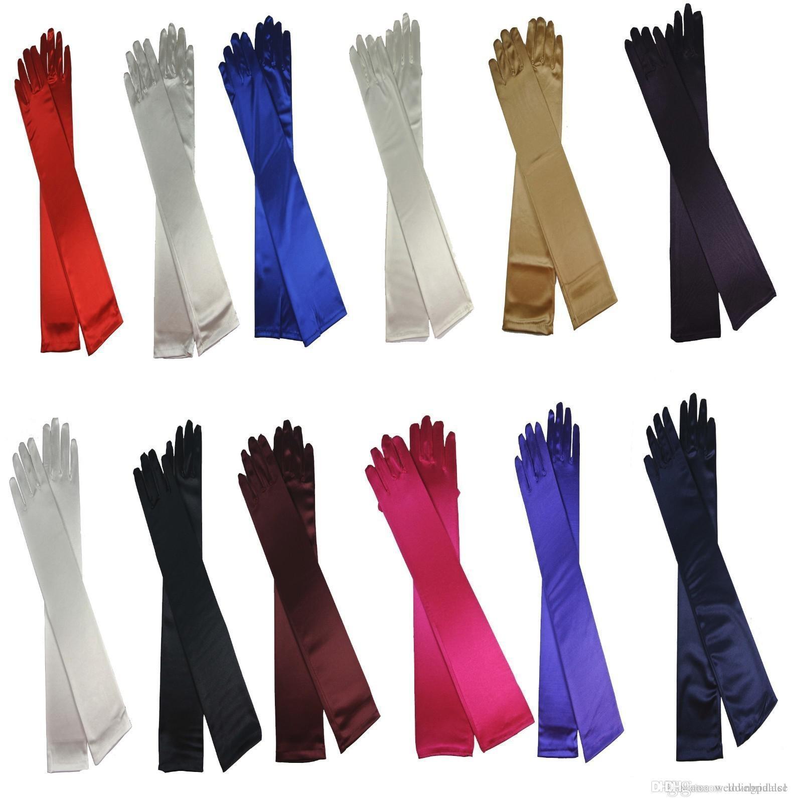En stock Livraison gratuite Coloré au-dessus de la longueur du coude Gants de mariée Full Finger Opera Longueur Satin Longs gants de mariage