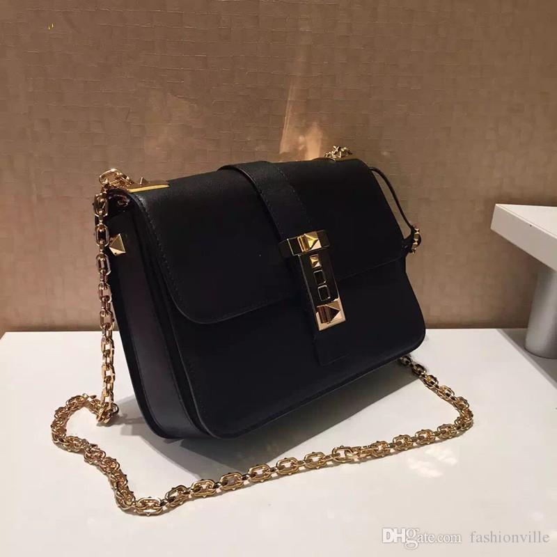 ¡caliente! w339 muchos colores de cuero genuino cadena de bloqueo de oro bolso de lujo diseñador de la pista v negro rojo azul 23 * 17 * 8 cm
