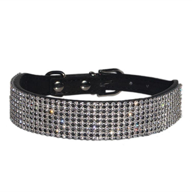 Exquisite Diamond Dog PU Leather Collar Alloy Button Pet Puppy Rhinestone Necklace S M