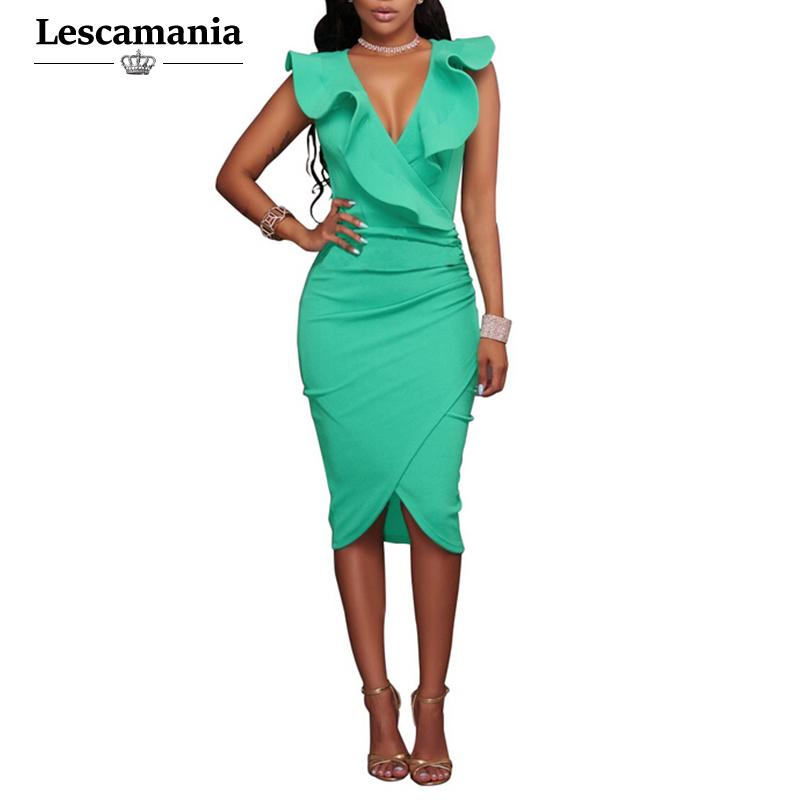 5926f14845 Wholesale- Lescamania Summer Women Fashion Brief Sexy Work Pencil Dress  Sleeveless Ruffles Solid Mini Butterfly Sleeve Dresses Vestidos Vestidos F  Vestidos ...