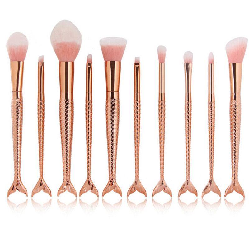 2017 Mermaid Brush Rainbow Spazzole trucco Set Cream Face Power Brushes Kit di pennelli multiuso Cosmetic Beauty Rainbow