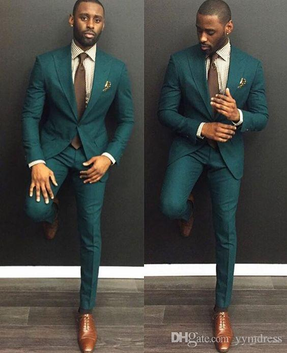 Classy Green Wedding Tuxedos Slim Fit Mens Business Suit Groom Jacket + Pants + Tie Men's Suits Spring 2019 Hot Sell Groom Suits Ebelz