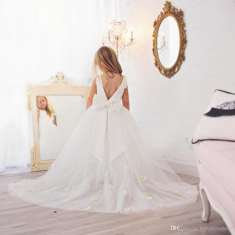 Длинные развертки тюль маленькие девочки свадебные платья с бантом цветы ручной работы лиф v спинки цветок девушка платье