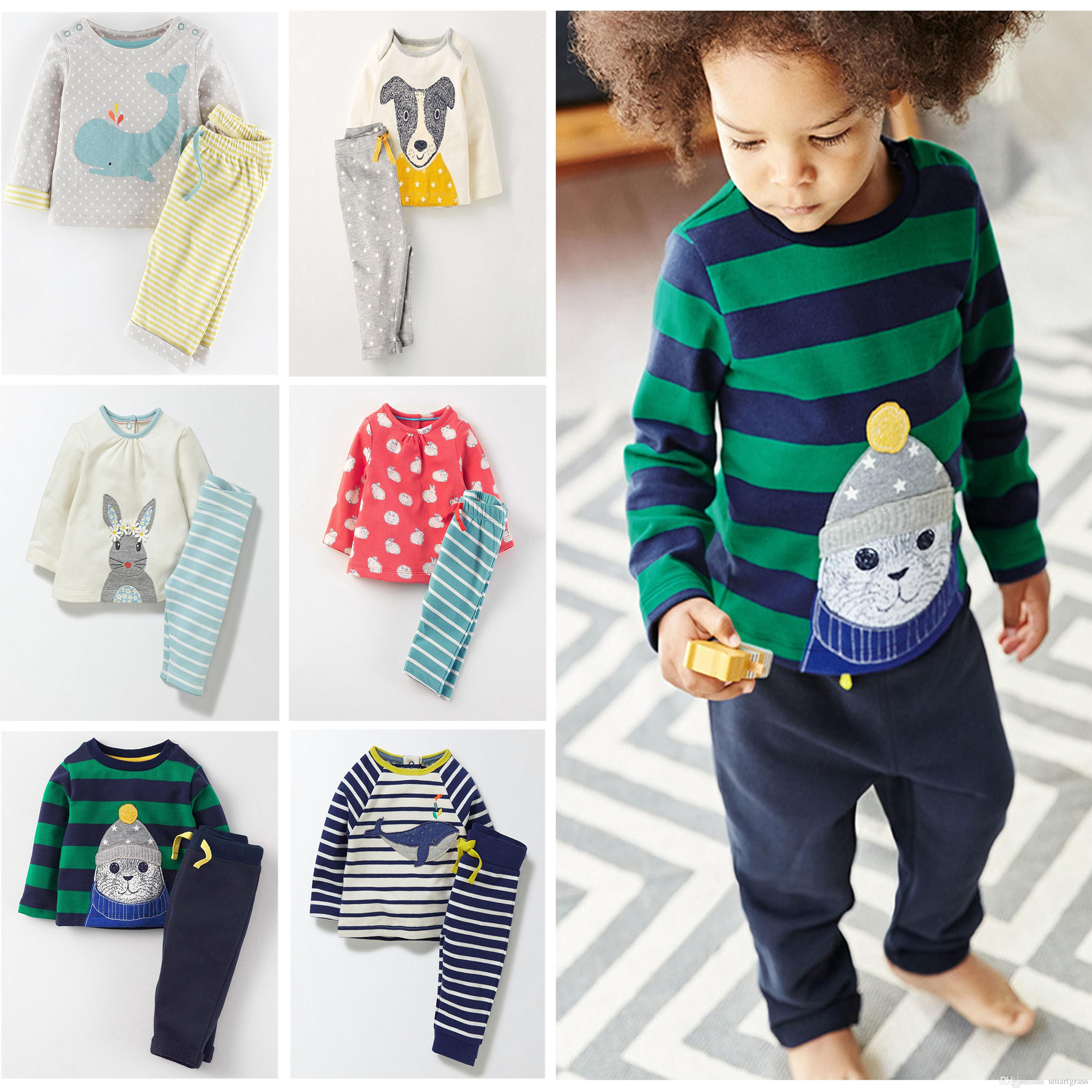2018 Two Piece Kid Clothes Set Baby Boy Girl Long Sleeve T Shirt And