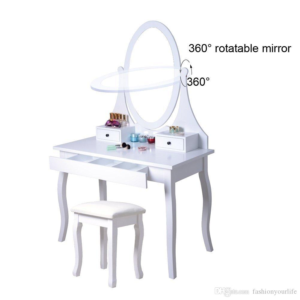 Dressing Vanity Table Set Swivel Dressing Mirror And 3 Drawers with ...
