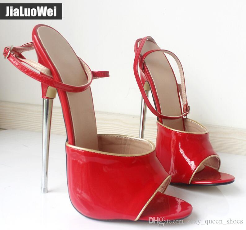 Free Ship Women Sandals Peep Toes 18CM High Heels Sandals Sexy Fetish Metal Spike Heel Ankle Straps Ladies Red Winter Dress Shoes Slides