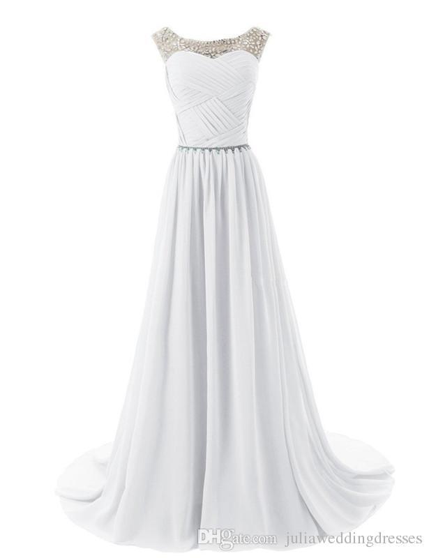 2021 새로운 주식 섹시한 화려한 긴 국자 쉬폰 공식 무도회 드레스 구슬 주름 주름기 바닥 길이 저녁 파티 가운