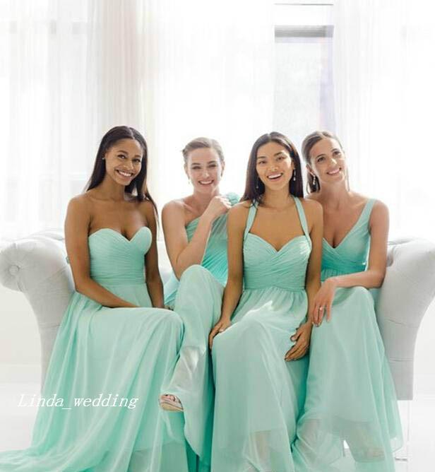 Kostenloser versand 2019 billig in lager teal Mint grün lange chiffon brautjungfer kleider sommer strand hochzeits party kleider robe de soirée plus größe