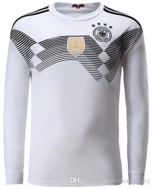 8f6057f291ebe 2018 Copa Del Mundo Alemania Manga Larga Casa Blanca Soccer Jersey   13  MULLER Camiseta De Fútbol   10 OZIL   8 KROOS Alemania Fútbol Uniformes  Ventas Por ...