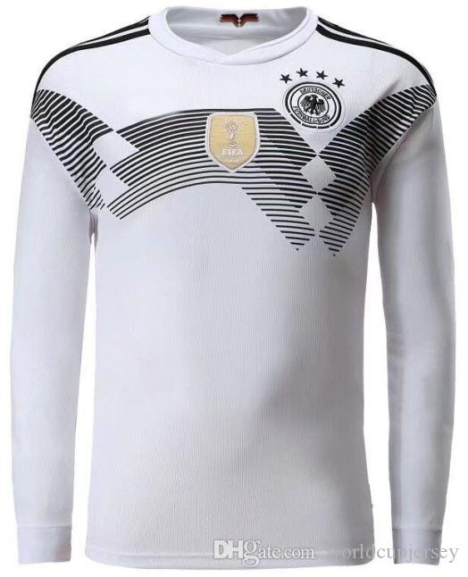 2018 World Cup Germany Long Sleeve Home White Soccer Jersey 13 MULLER  Soccer Shirt  10 OZIL  8 KROOS Germany Football Uniforms Sales UK 2019 From  ... 3846b5533219