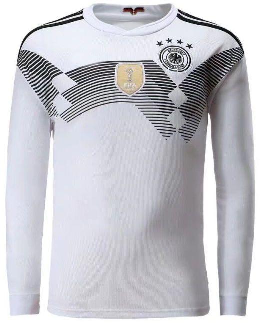 Copa do mundo de 2018 alemanha manga longa casa branca camisa de futebol    13 MULLER futebol camisa   10 OZIL   8 KROOS Alemanha uniformes de futebol  vendas abbffd027029f