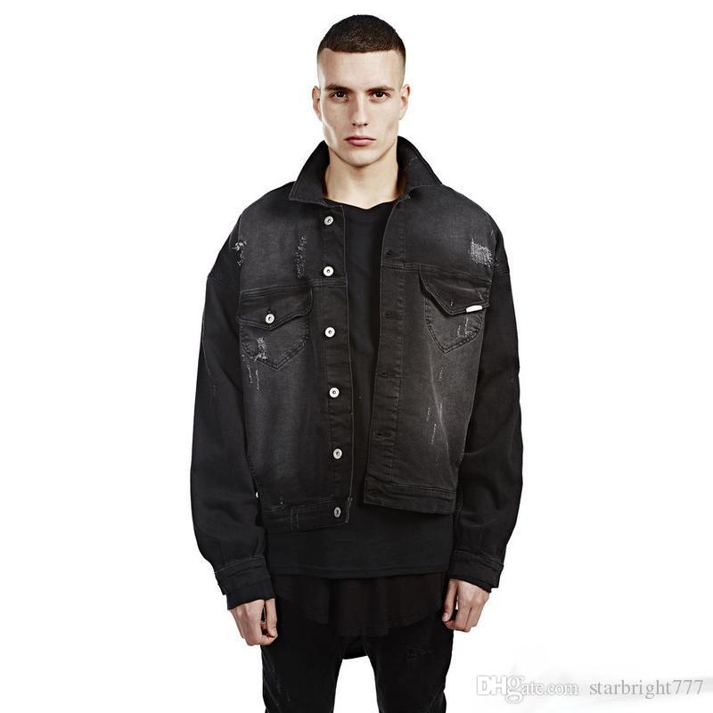 New Fashion Denim Biker Jackets For Men Distressed Jean Jacket Coat