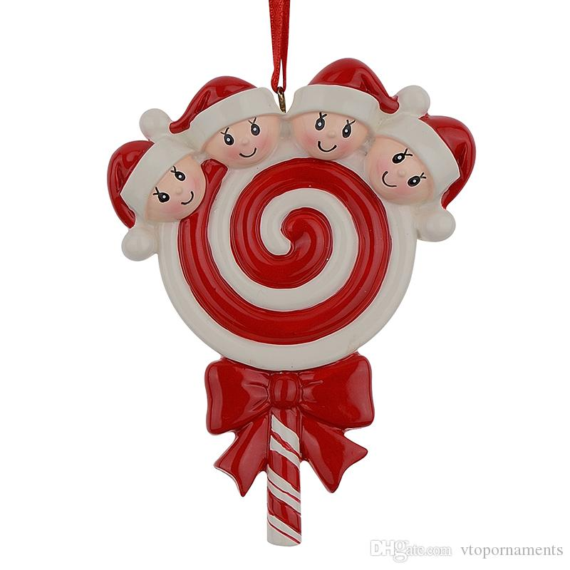 Lollipop Family of 4 Resin Hang Christmas Ornaments With Glossy Baby Face As Craft Souvenir For Personalized Gifts or Home Decor