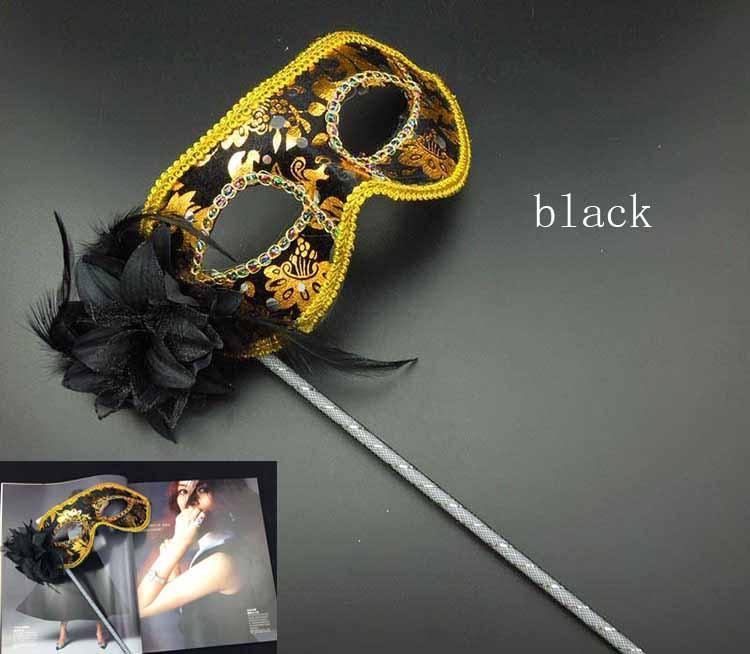Feito À Mão Máscara Do Partido vara de Casamento Venetian Meia face flor sexy máscara de Halloween Masquerade Máscara princesa Trança Mardi Gras Máscara