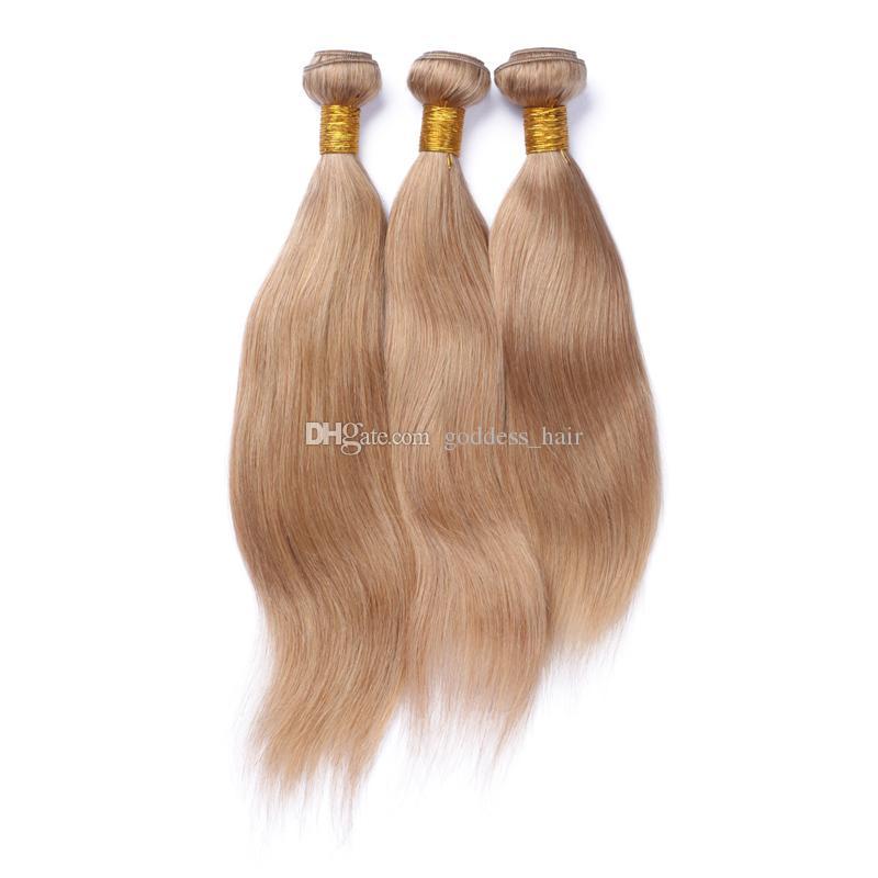 Honey Blonde # 27 El cabello teje con cierre de encaje 4x4 Parte libre Sin procesar Sedoso Cabello humano recto 3 paquetes con cierre de encaje Precio barato
