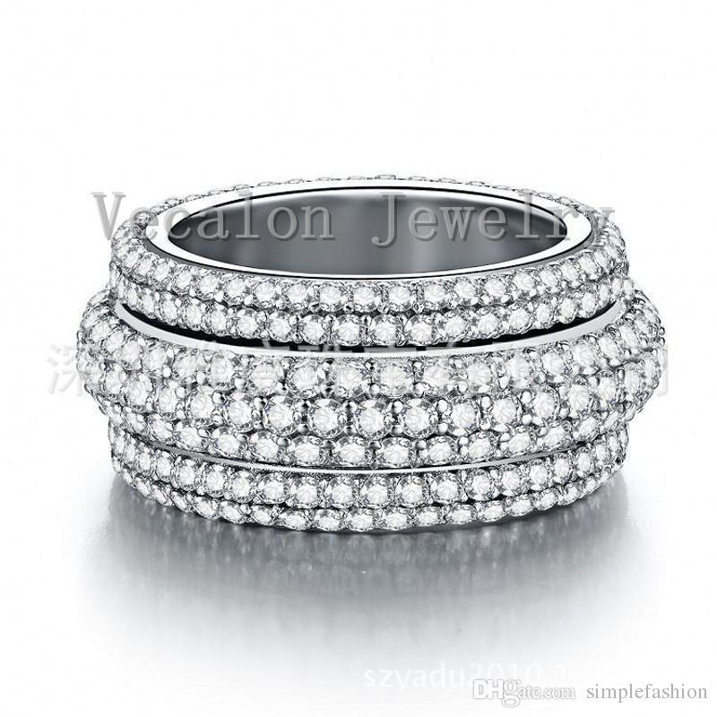 Vecalon 2016 여성 반지 전체 시뮬레이션 다이아몬드 주위 Cz 925 스털링 실버 약혼 결혼 반지 여성을위한