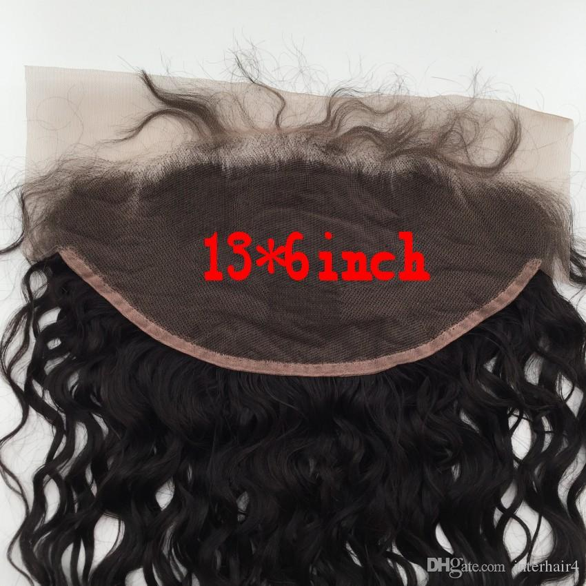 13x6 Orelha A Orelha Fechamento Frontal Do Laço Com Pacotes 3 Pacotes Onda De Água Peruano Com Laço Frontal Molhado e Ondulado Com Fecho