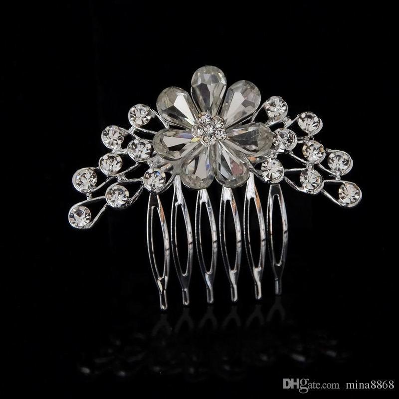 Лучшее предложение роскошный Кристалл невесты головной убор свадебное платье аксессуары свадебные украшения для волос vrystal цветок волос расческа оптовая цена DHF803