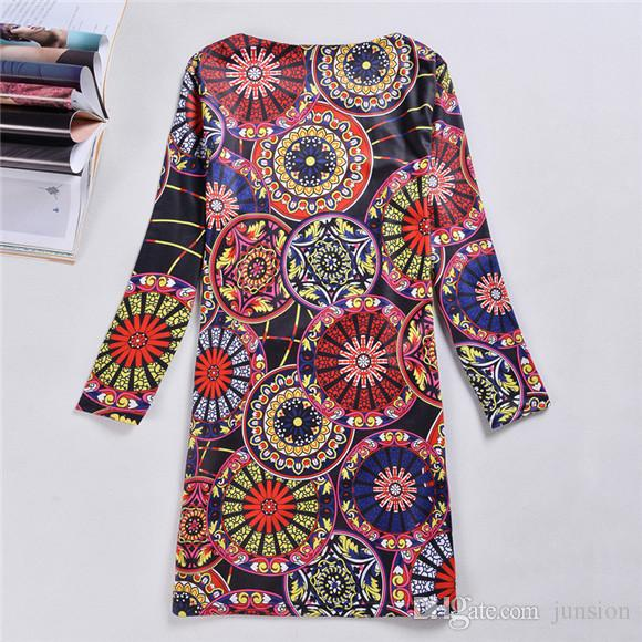 Plus Size Xxxxl Sexy Women Flower Print Dresses Long Sleeve Winter A-line Dresses Vestidos Women Fashion 2016 New Hot Sale