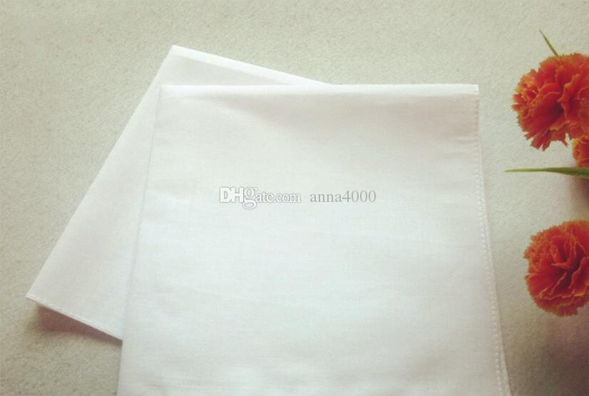 Fazzoletti bianchi puri Fazzoletti in cotone 100% Donna Uomo 41cm * 41cm Fazzoletto da taschino tinta unita Stampa pianura FAI DA TE Disegna Hankie