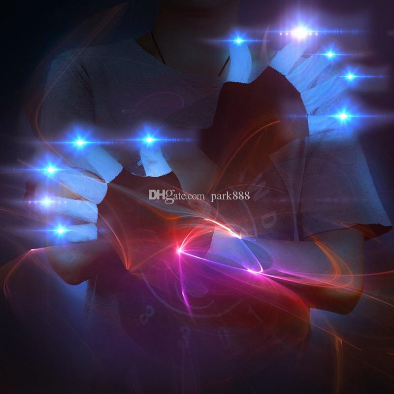 LED 장갑 플래시 5 손가락 가벼운 고스트 댄스 검은 바 스테이지 성능 화려한 레이브 가벼운 손가락 조명 글로우 깜박 광선 깜박임