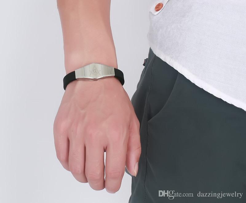 2017 Health energy black silicone stainless steel bracelet free mason masonic emblem high polished drop shipping