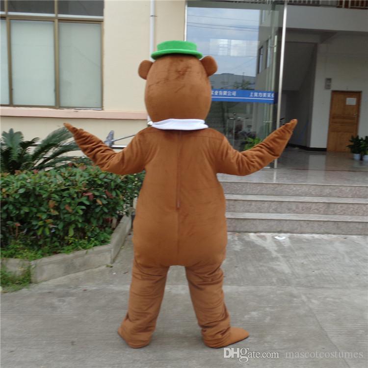 새롭게 디자인 된 성인 견면 벨벳 요가 곰 마스코트 의상 파티 용 무료 배송 맞춤 제작