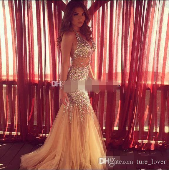 2k15 New Sparkly Crystal Prom Dresses Halter Beading Backless Mermaid Long Modest Champagne Woman Sheer Evening Party Gowns Vestidos 2016