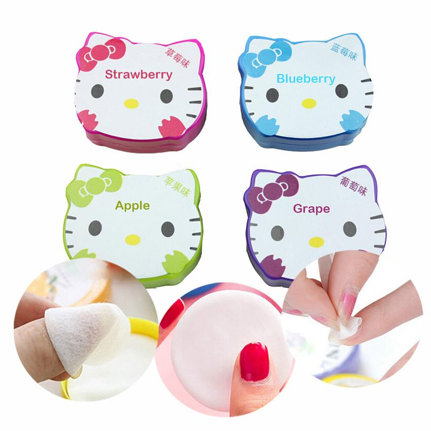 Cute Cat Fruit Flavor Nail Polish Remover Wipes Cotton Cleaner Uv ...