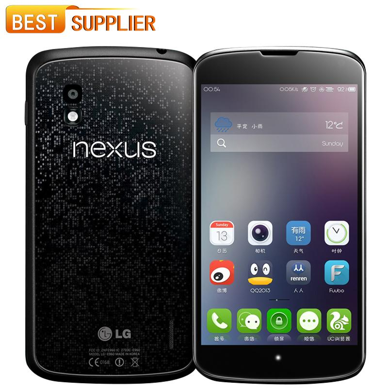 E960 Original LG Nexus 4 E960 Cell Phones 3G 16GB ROM 2GB RAM 8MP Camera  4 7 Quad Core NFC Unlocked Smartphone